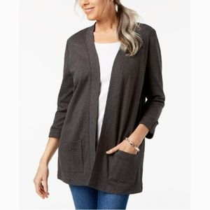 Karen Scott Cotton Button-Tab Cozy Gray Cardigan
